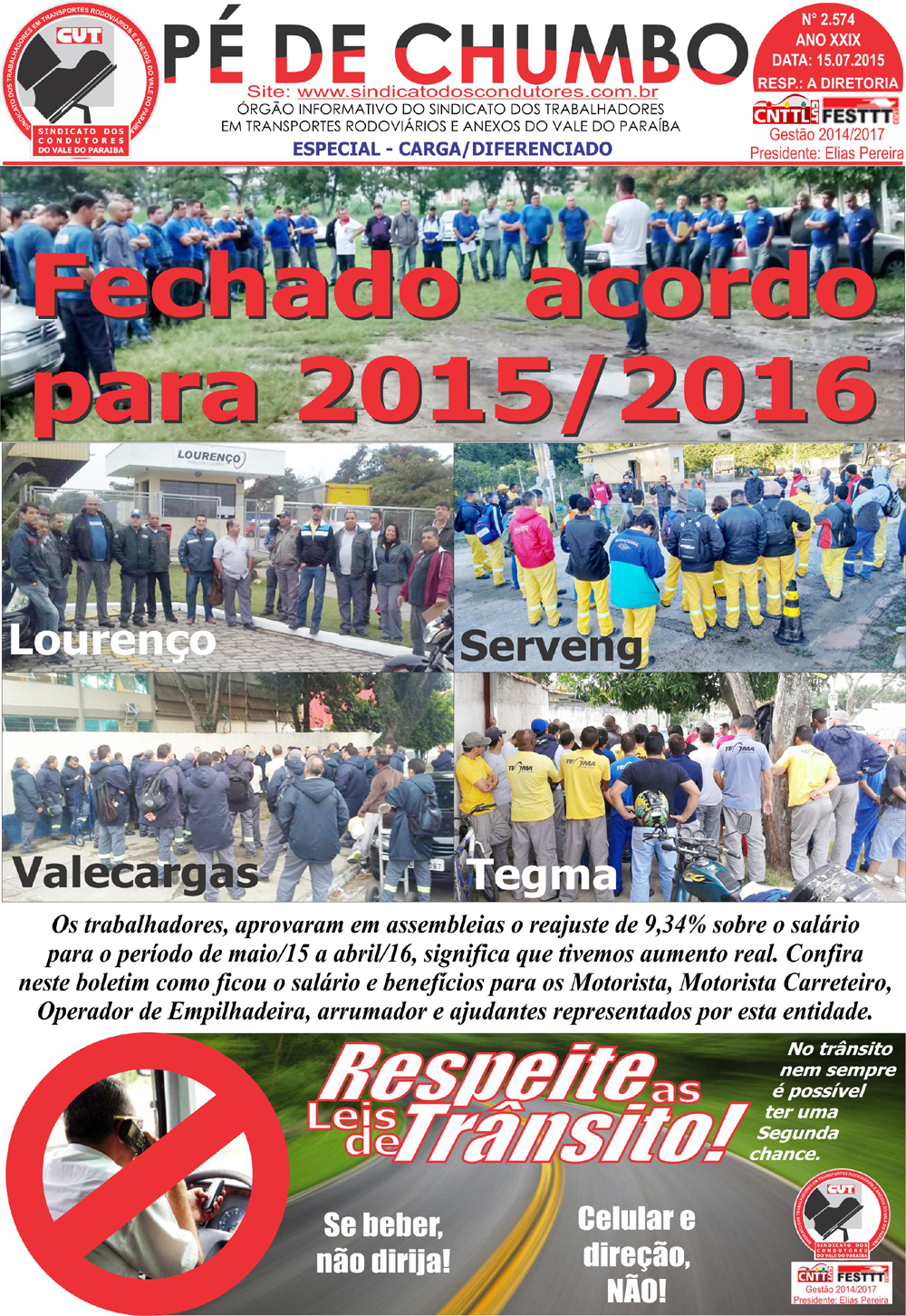 Boletim - Pé de Chumbo - 15/07/2015