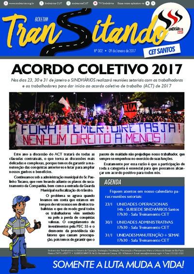 Boletim Transitando CET Santos - 09/Jan/2017