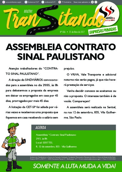 Boletim Transitando Serttel - Sindiviários - Maio/17
