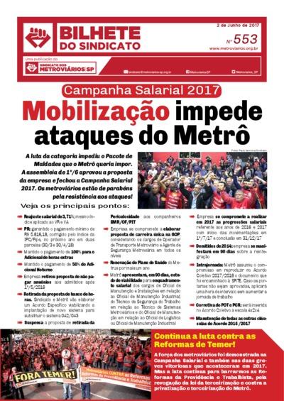 Bilhete do Sindicato - Metroviários SP - Junho/17