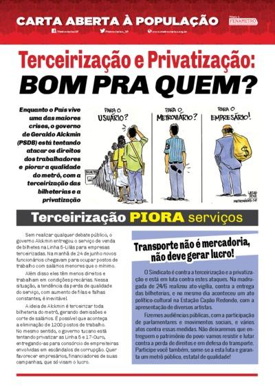 Carta Aberta à população - Metroviários SP - Jul/17