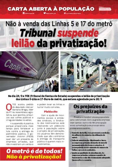 Carta aberta à população - Metroviários SP - Set/2017