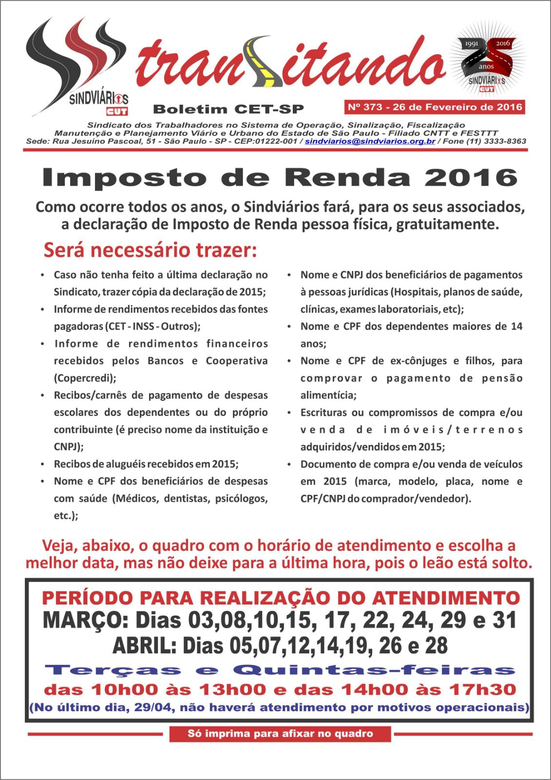 Transitando - Sindviário - 26 de Fevereiro 2016