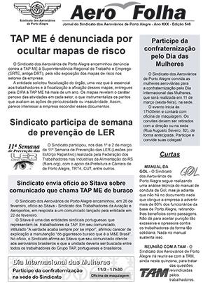 Aero Folha N548 Sindicato dos Aeroviários de Porto Alegre  - Março - 2016