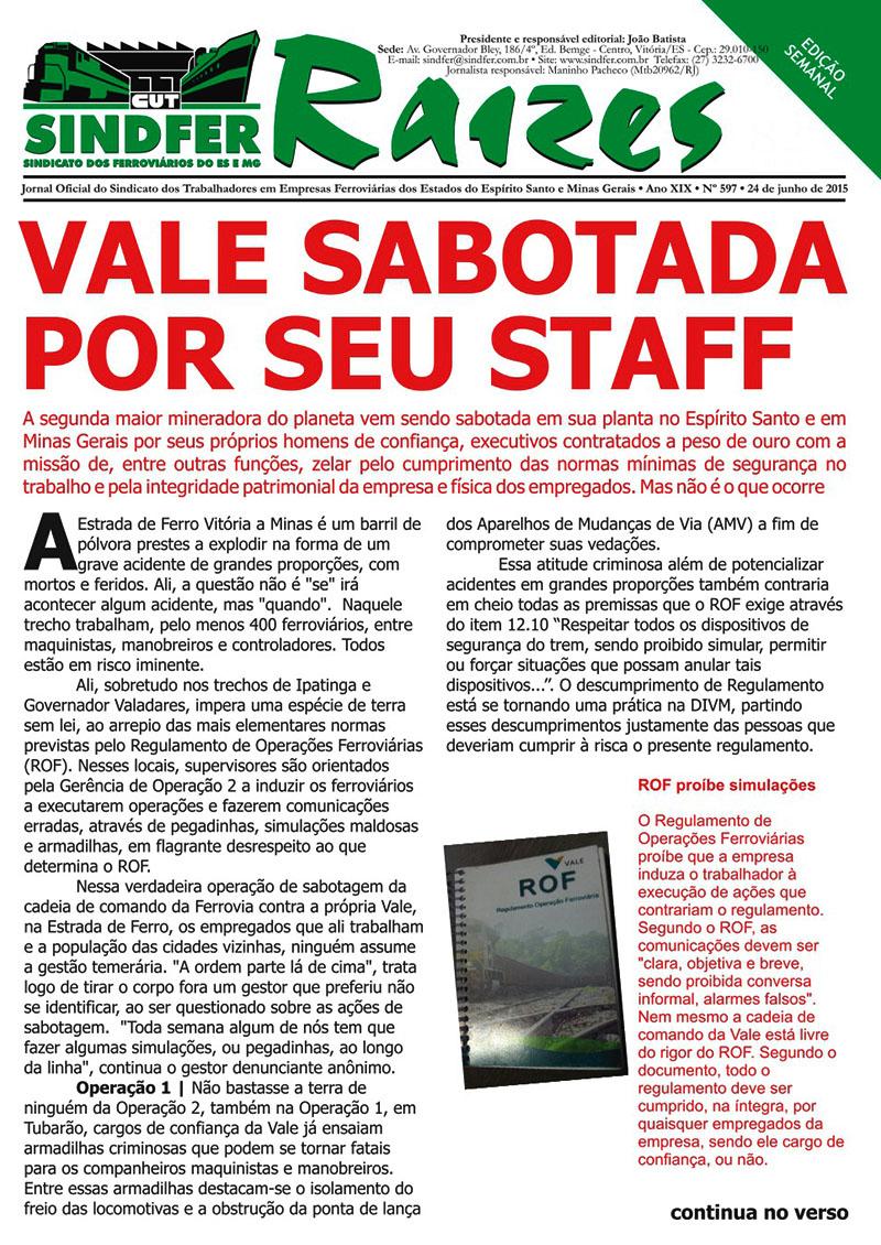 Jornal Sindfer - Raízes- junho de 2015