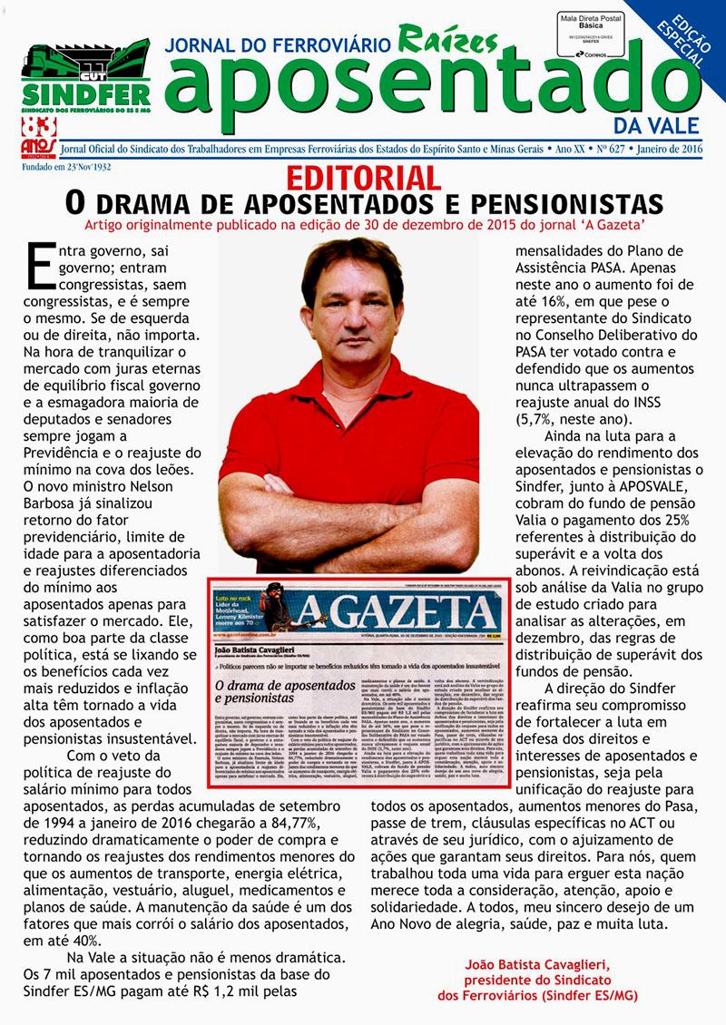 Jornal Sindfer Aposentado - Janeiro 2016