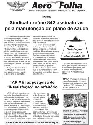 AeroFolha - Sindicato dos Aeroviários de Porto Alegre - 23 de Setembro de 2015
