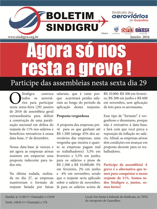 Sindigru: Convocação para assembleias de 29/01/2016