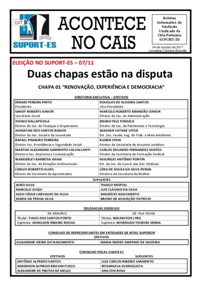 Acontece no cais - Suport-ES - Out/2017
