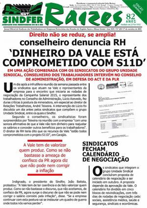 Jornal Sindfer - Raízes- 1º de Outubro de 2015