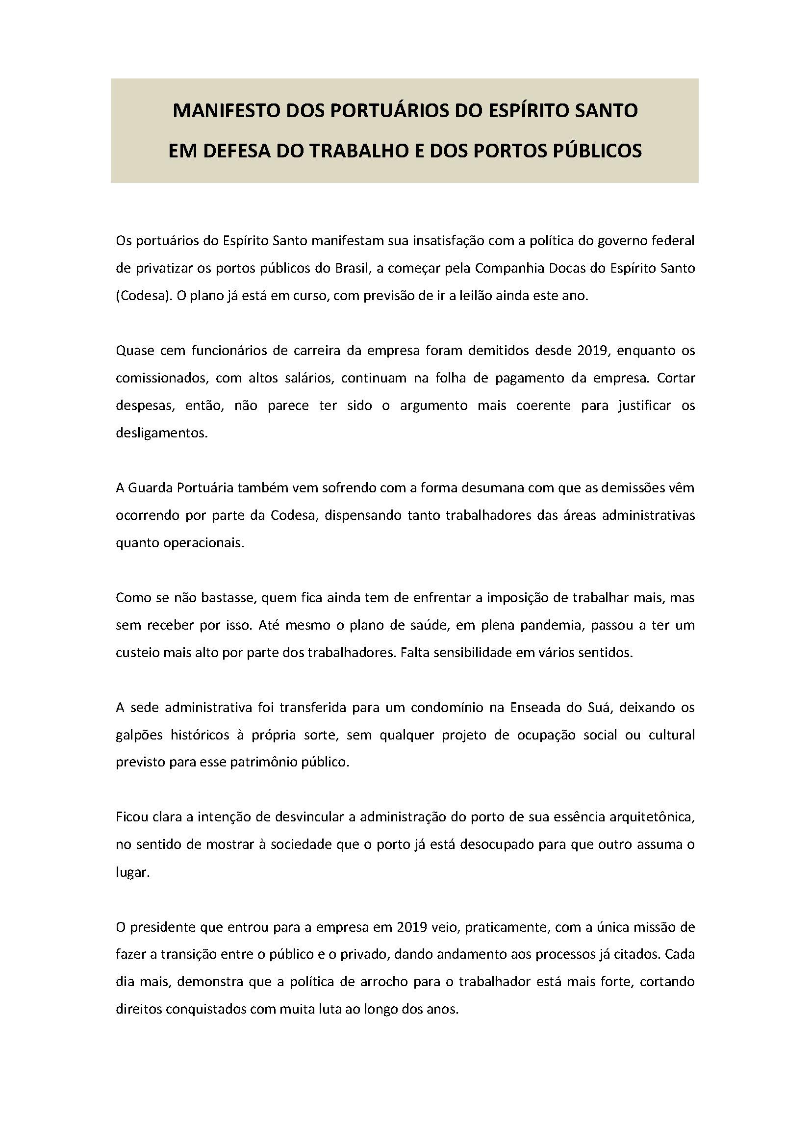 MANIFESTO DOS PORTUÁRIOS