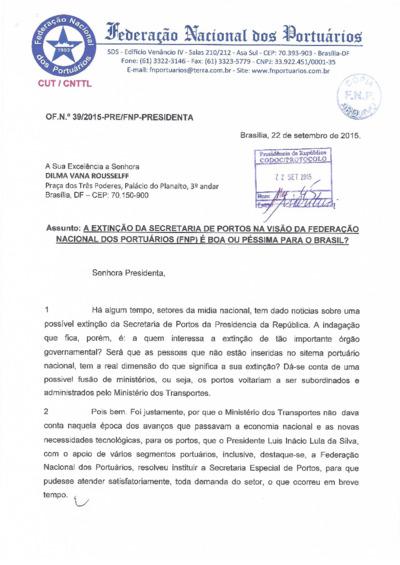 FNP - Extinção da Secretaria dos Portuários