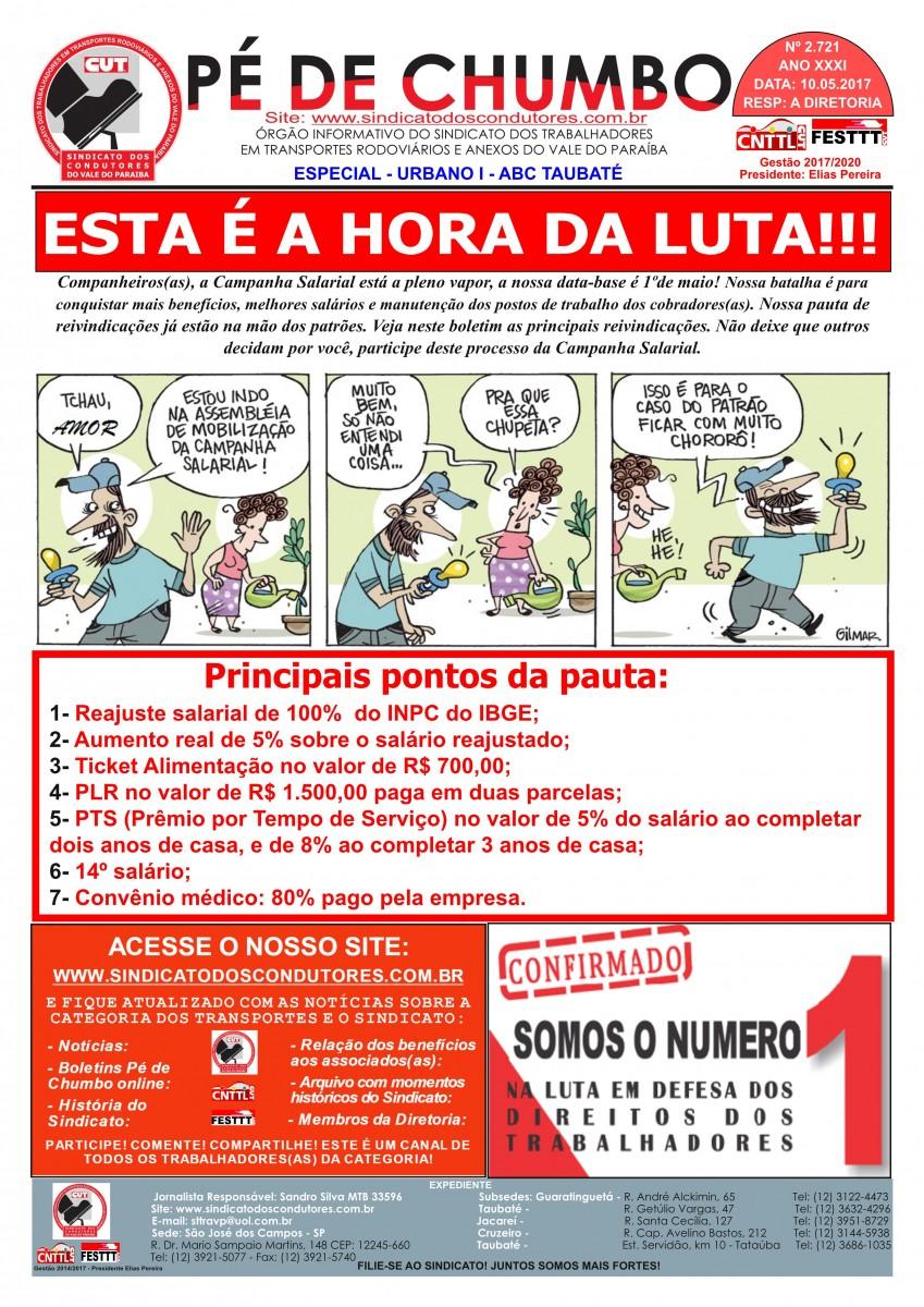 Boletim Pé de Chumbo - Condutores do Vale do Paraíba - Campanha Salarial