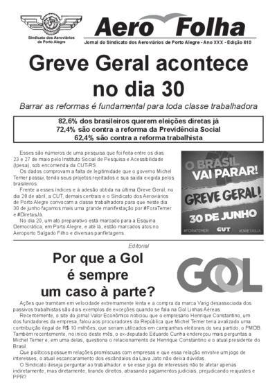 Boletim Aerofolha - Sindicato dos Aeroviários de Porto Alegre - Junho/17