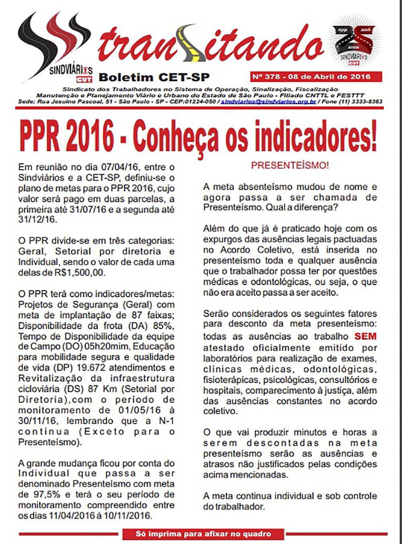 Boletim dos Trabalhadores no Sistema Viário e Urbano do Estado de São Paulo - Sindviários