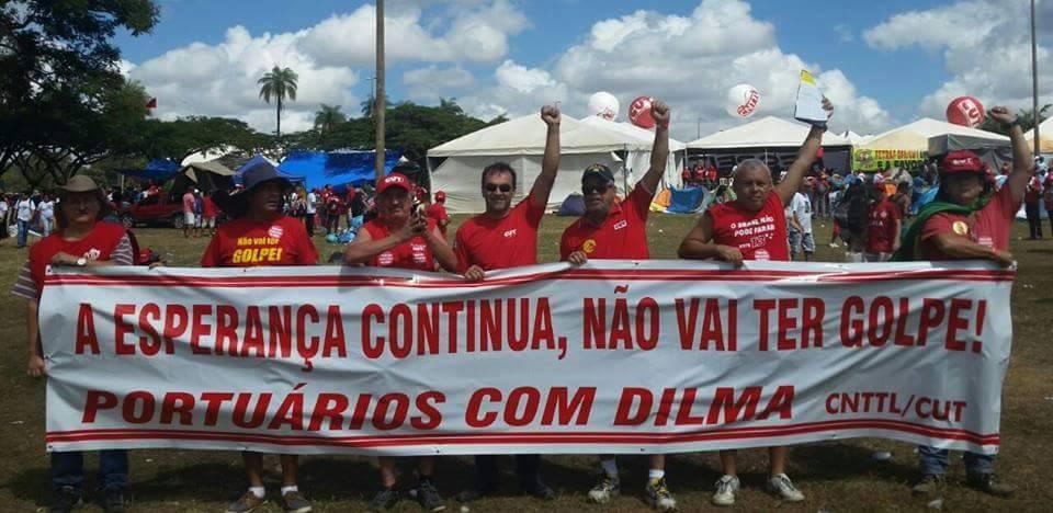 Imagem de Acampamento Brasília: portuários também estão na luta