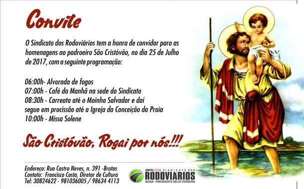 Imagem de Bahia: Rodoviários prestam homenagem a São Cristóvão com missa e procissão nesta terça (25)