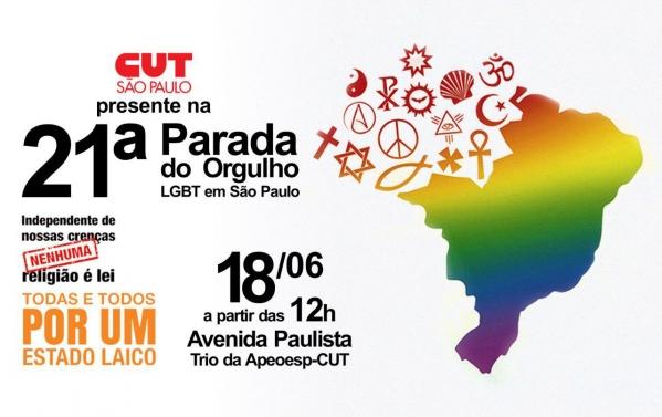 Imagem de SP: CUT e sindicatos participarão da 21ª Parada do Orgulho LGBT no domingo (18)