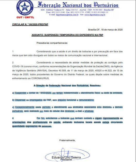 Imagem de Covid-19: Federação Nacional dos Portuários suspende atendimentos na sede