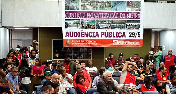 Imagem de SP: Metroviários participam de audiência pública em defesa do Metrô público