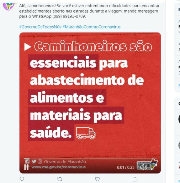 Imagem de Governo do Maranhão lança WhatsApp para caminhoneiros com dificuldade de encontrar comércio aberto