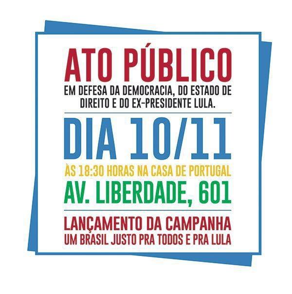 """Imagem de SP: Campanha """"Por um Brasil justo pra todos e pra Lula"""" será lançada nesta quinta (10)"""