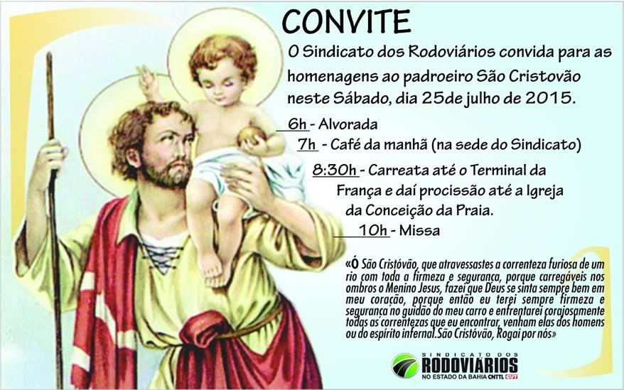 Imagem de Bahia: Rodoviários renovam fé no padroeiro São Cristóvão com missa e procissão neste sábado (25)