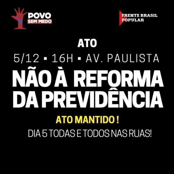Imagem de Não ao Desmonte da Previdência: CUT-SP realizará ato na Avenida Paulista nesta terça-feira (5)