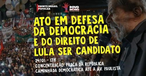 Imagem de SP: Ato em defesa da democracia e de Lula será na Praça da República