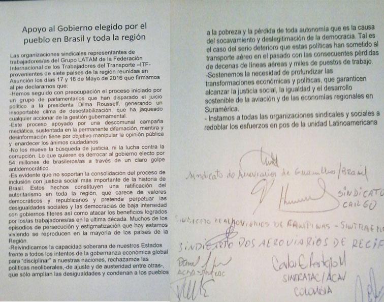 Imagem de LATAM/ITF: Aeroviários e Aeronautas de sete países aprovam moção em defesa da democracia no Brasil