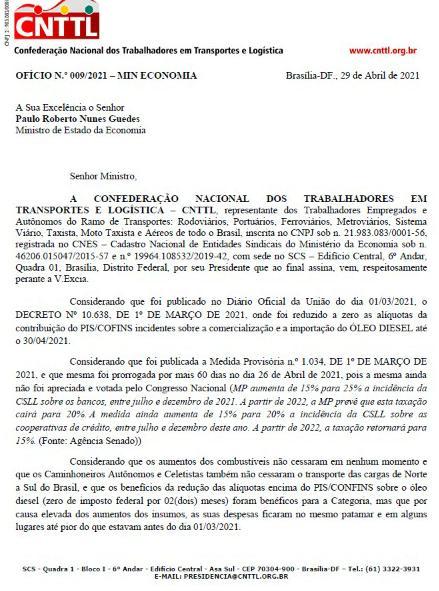 Imagem de Não ao novo aumento do Diesel: CNTTL pede aos ministros Guedes e Tarcísio manutenção do decreto de redução para caminhoneiros