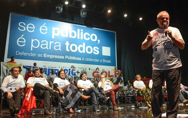 """Imagem de Lula: """"Golpistas não vão impedir que a gente ande pelo país denunciando o golpe"""""""