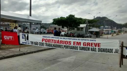 Imagem de Espírito Santo: Portuários aderem 100% a greve no TVV