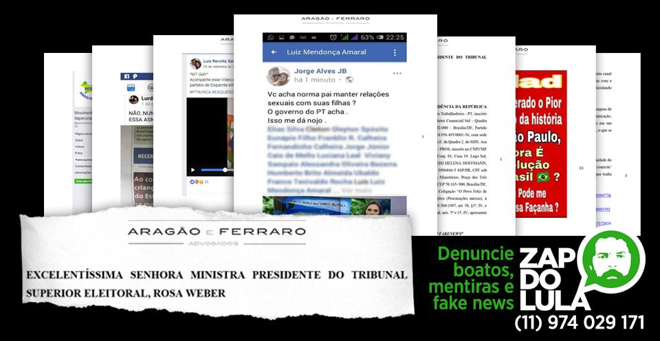 Imagem de TSE recebe 92 páginas de denúncia contra Fake News recebidas pelo Zap do Lula