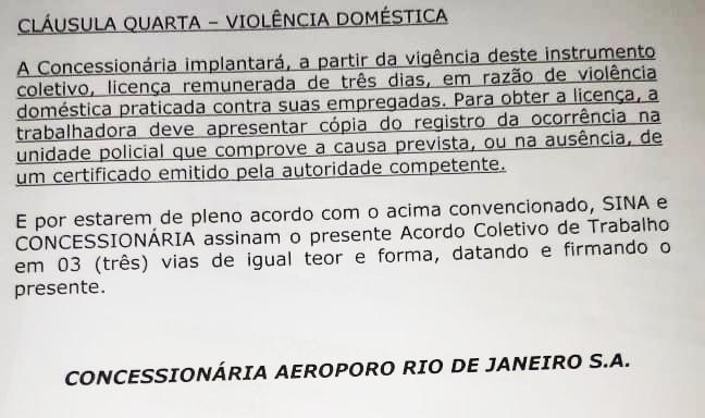 Imagem de Inédito: SINA e Concessionária RIOGaleão assinam Termo Aditivo ao Acordo Coletivo de Trabalho que ampara mulher vítima de violência doméstica