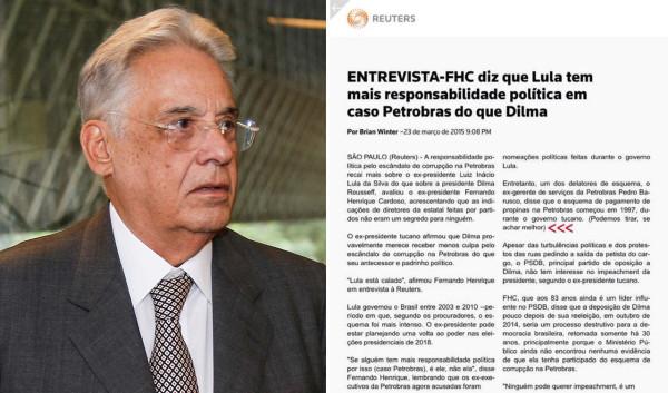 Imagem de Reuters tenta proteger FHC em matéria sobre corrupção na Petrobras