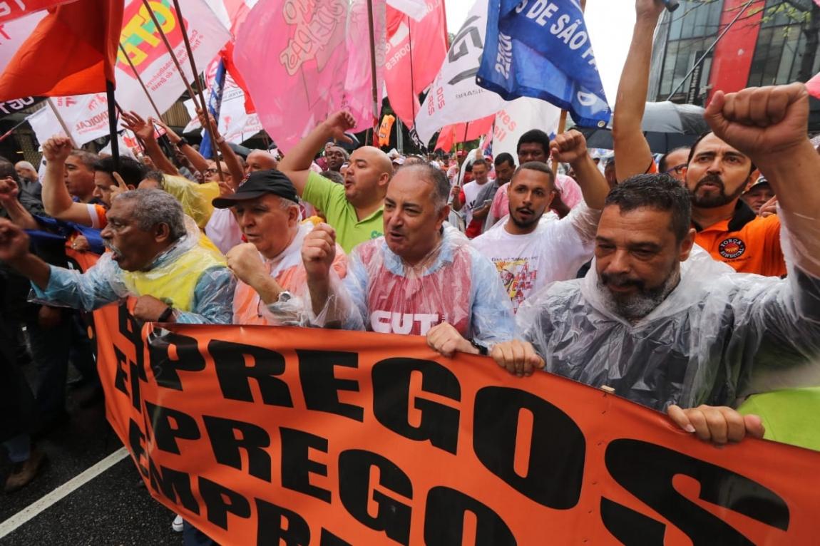 Imagem de Centrais sindicais fazem ato por emprego e crescimento em frente à FIESP