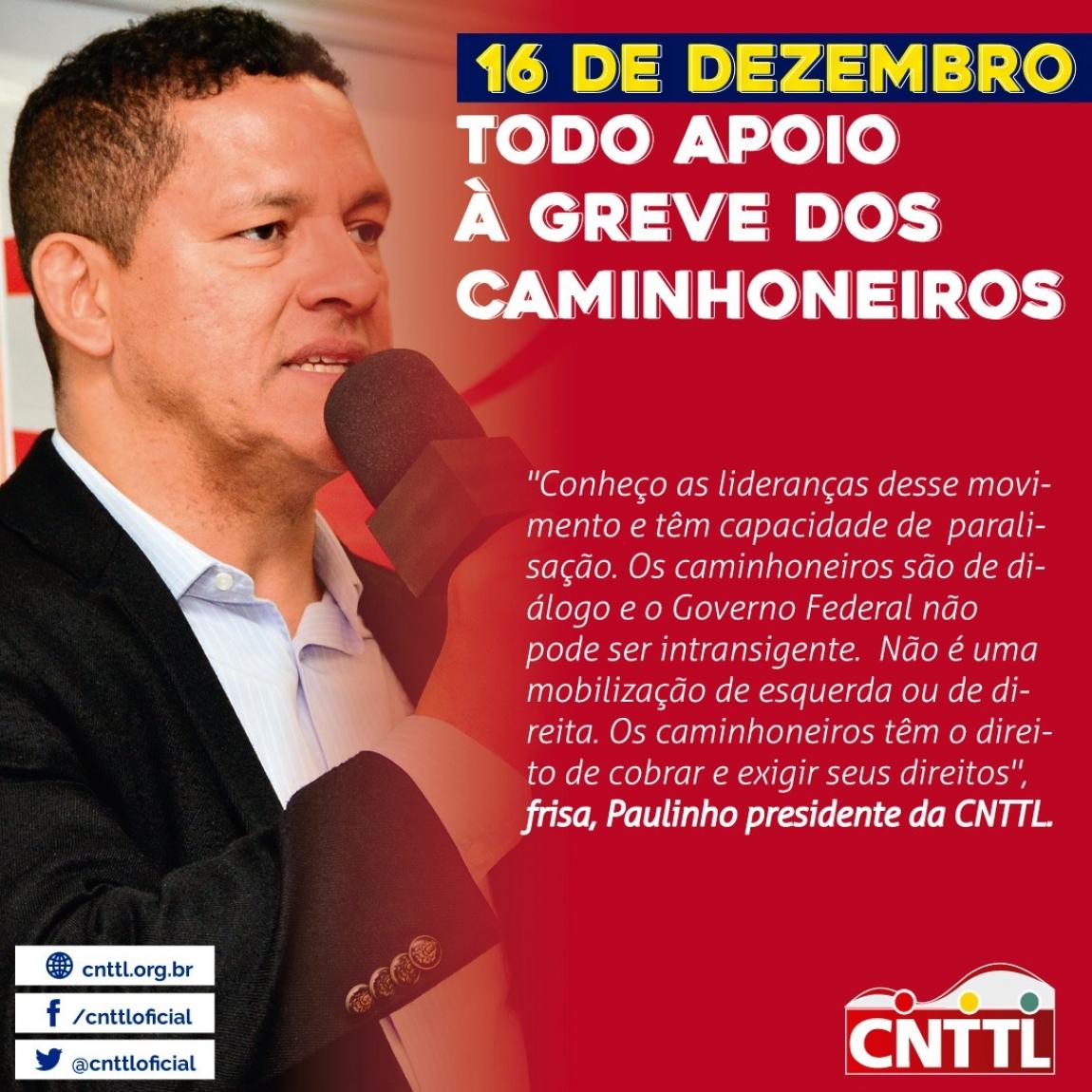 Imagem de 16 dezembro: CNTTL apoia pauta legítima da greve dos caminhoneiros