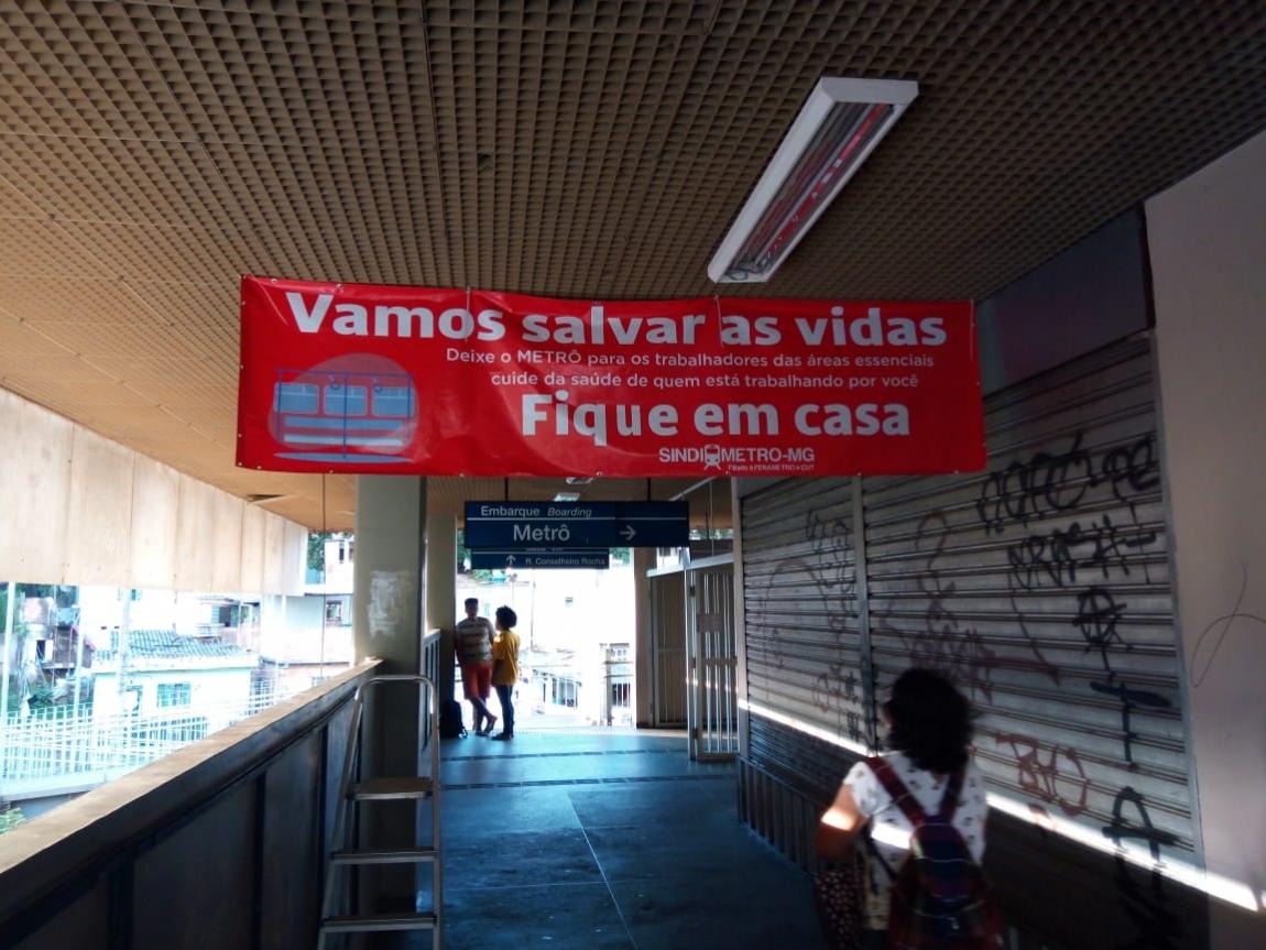 Imagem de Belo Horizonte: Metroviários denunciam prática- antissindical da CBTU que retirou faixas sobre COVID-19