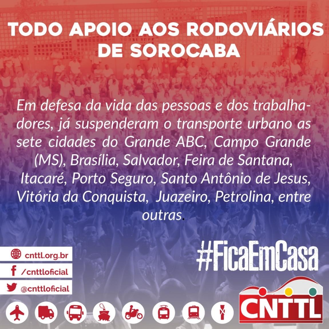Imagem de CNTTL apoia Rodoviários de Sorocaba e reforça campanha #FiqueEmCasa
