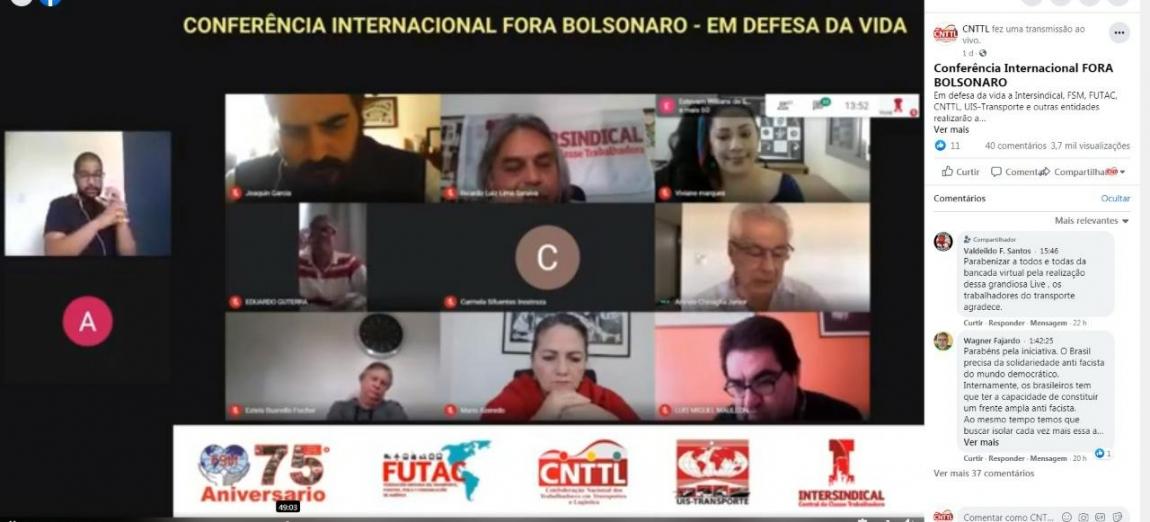 Imagem de Conferência Internacional FORA BOLSONARO atrai mais de 26 mil pessoas