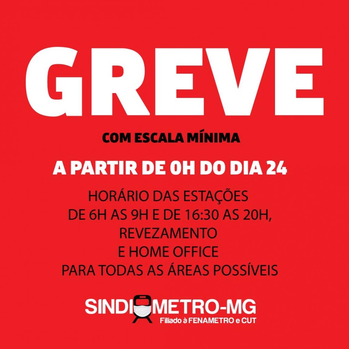 Imagem de Belo Horizonte: Metroviários anunciam paralisação com escala mínima para defender a vida de todos contra COVID-19