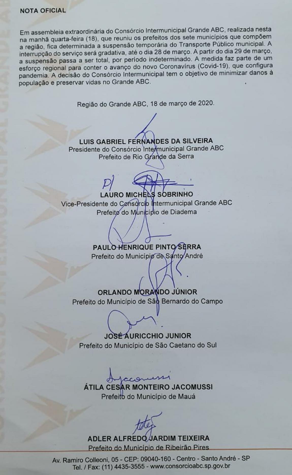 Imagem de ABC Paulista: Transporte público municipal será suspenso a partir do dia 29