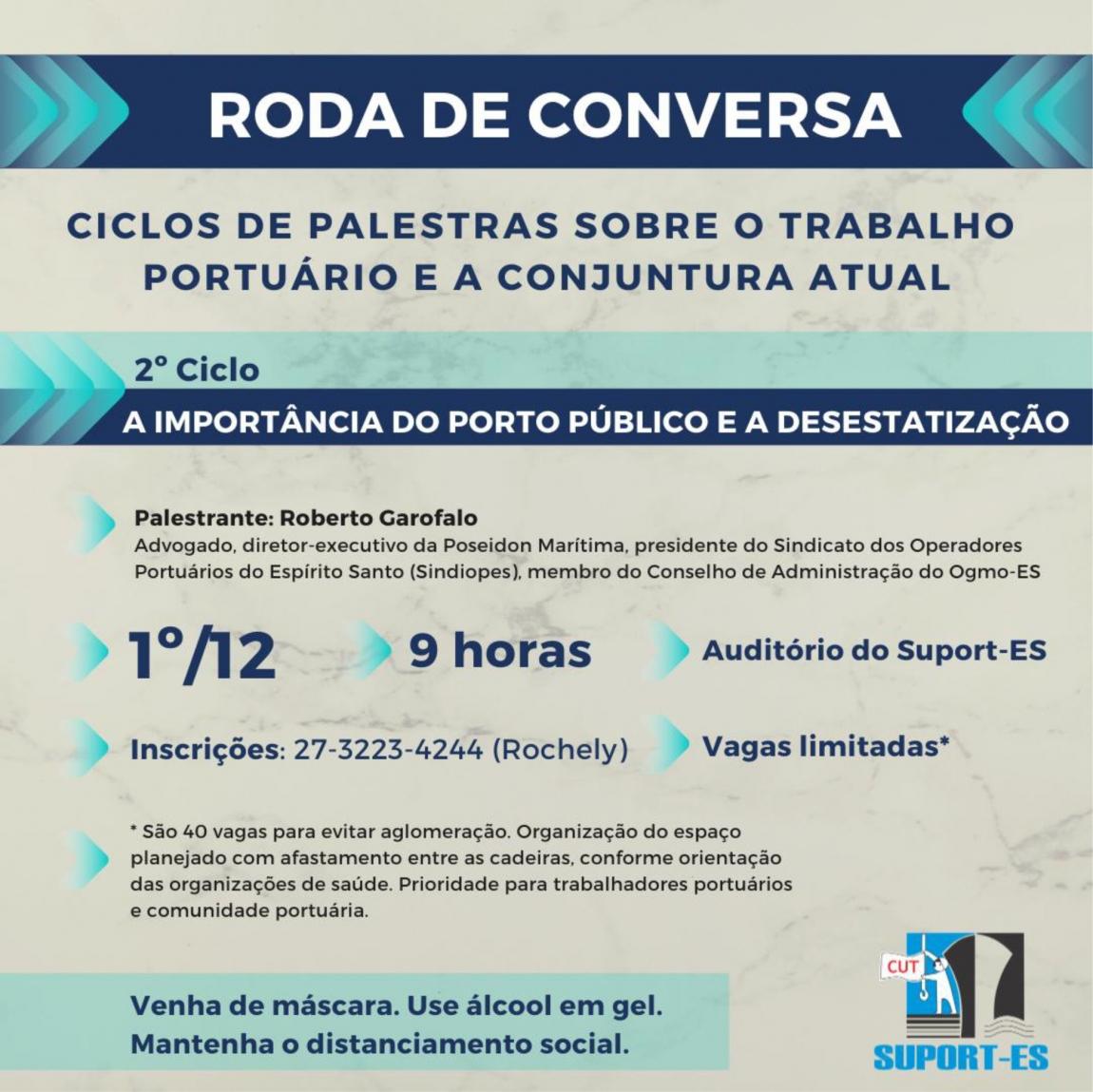 Imagem de Porto Público e desestatização é o tema do 2º Ciclo de Palestras dos Portuários de Vitória