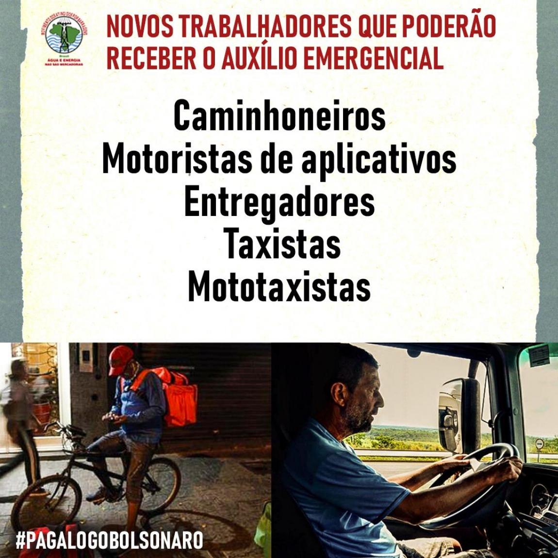 Imagem de Auxílio emergencial: Caminhoneiros, motoristas de aplicativos, taxistas e mototaxistas serão beneficiados