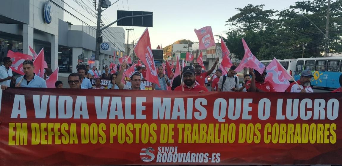 Imagem de Vitória: Rodoviários fazem terceiro protesto em defesa do posto de cobrador