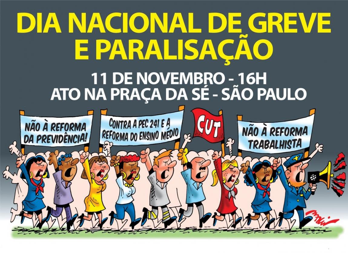 Imagem de 11/11: Dia Nacional de Paralisação terá ato da CUT na Praça da Sé