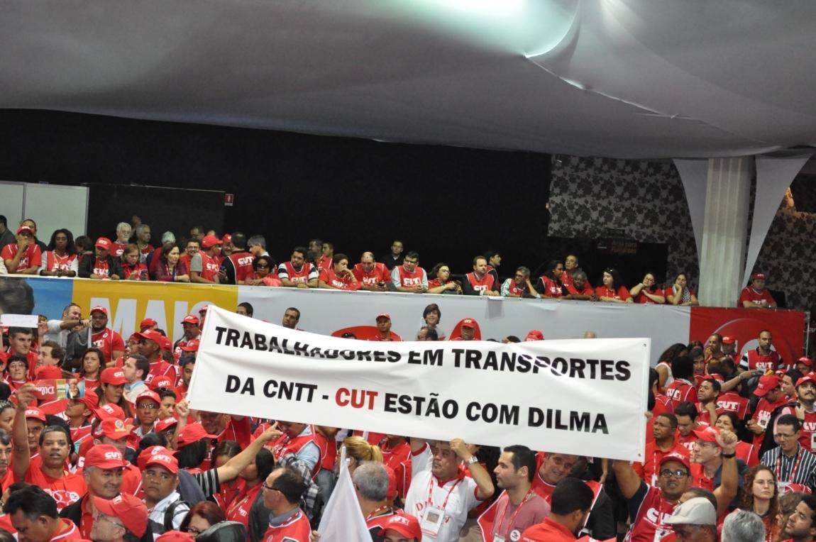 Imagem de 26 de outubro: Nós, trabalhadores em transporte, somos Dilma presidenta!