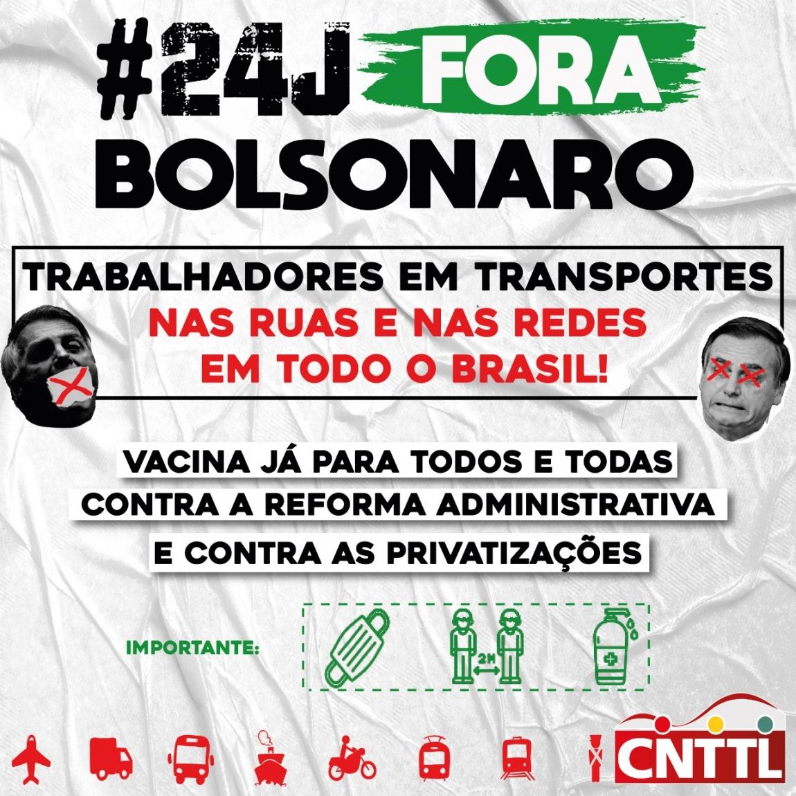 Imagem de #24J: Trabalhadores em transportes da CNTTL participarão do Fora Bolsonaro