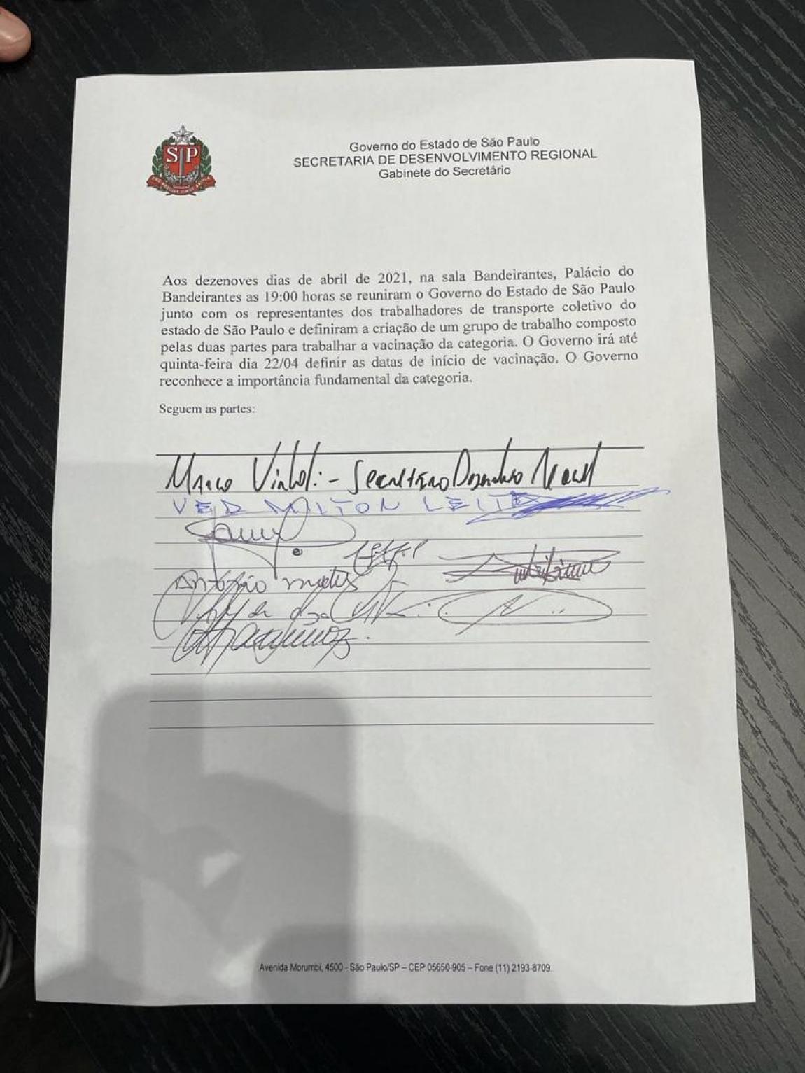Imagem de Lideranças dos trabalhadores em transportes suspendem Lockdown após Governo Dória garantir vacinação da categoria